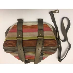 FOSSIL leather colorful striped shoulder purse